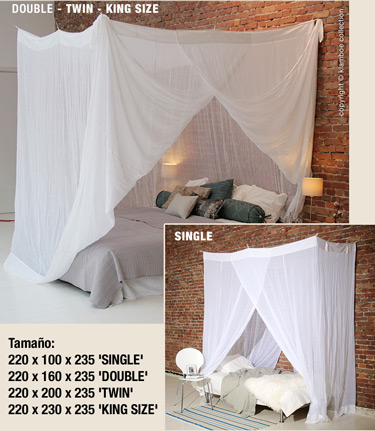 Mosquitero rectangular de algod n para cama - Mosquiteras para camas ...