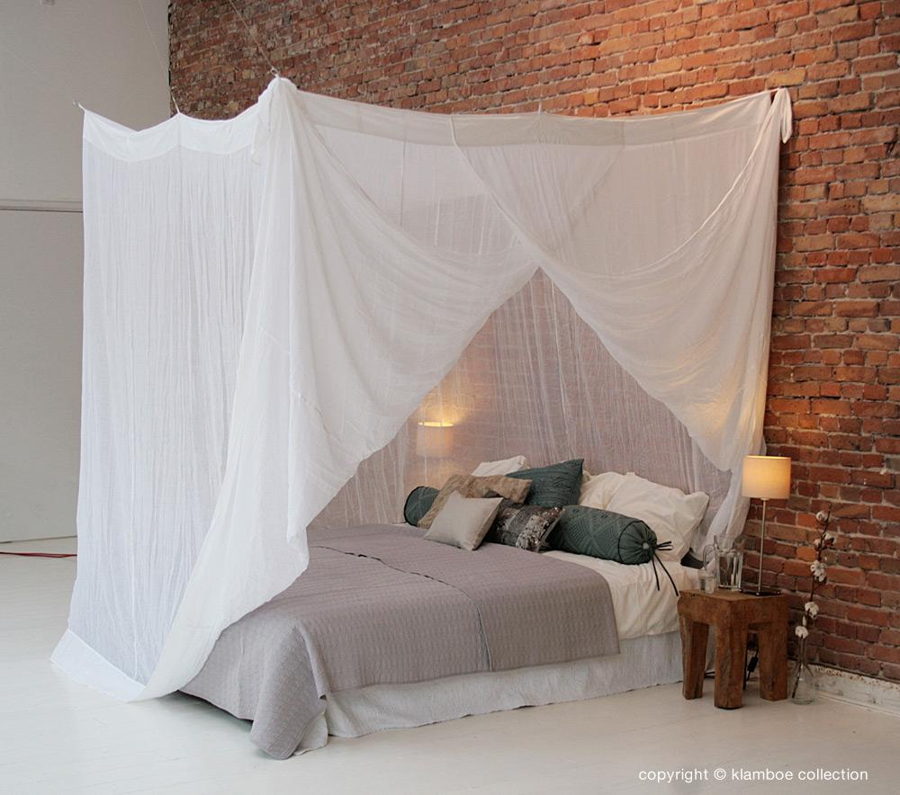 Klamboe van katoen bamboe klamboe collection - Moustiquaire baldaquin pour lit double ...